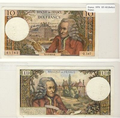1970 10 Francs Banknote from France in EF-AU Condition.