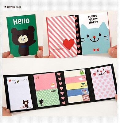 BROWN BEAR Animal Post Bookmark Point Flags Marker Memo Tab Sticky Notes Sticker