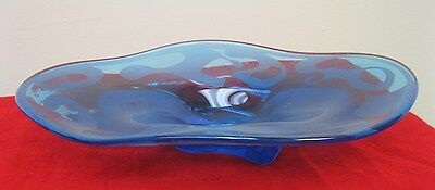 Vintage Hand Blown Blue Glass Candy Dish Oval Egg Shape Footed 12 1/4 x 8 1/4✞