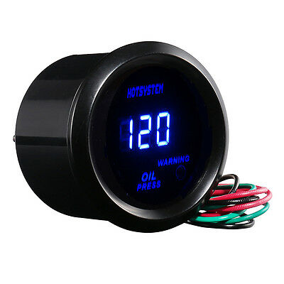 "New AUTO BLACK 2"" 52mm DIGITAL LED 0-120 PSI OIL PRESSURE PRESS GAUGE AU"