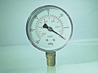 Vacuum Gauges  -0-1000mBar- 30*Hg  BSPT 100mm (4Inch)  & 63mm  Male Bottom conn