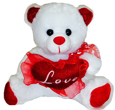 Love Mom 7'' White Cute Stuffed Teddy Bear Plush with Heart, Mother's Day Gift