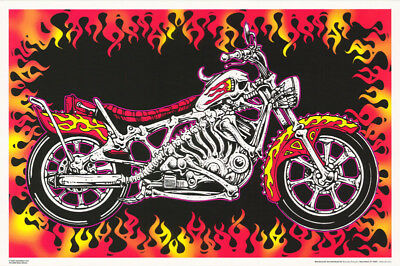Poster: Motorbones - Skeleton Motorcycle - Blacklight  Flocked -  #3268F Rp61 D