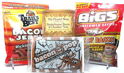 Bacon Snack Pack - Bacon & Cheddar Peanuts, Sunflower Seeds, Jerky & Popcorn