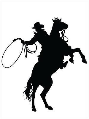 "Cowboy and Bucking Horse Home Decor | Large Vinyl Wall Decal 17""x20"" [CK9]"