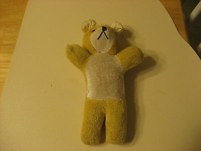 EARLY 1900S OLD MINIATURE CARNIVAL BEAR STUFFED WITH STRAW STRING ON TOP YELLOW