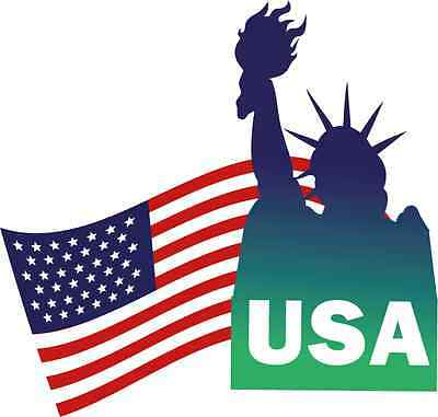 "Statue of Liberty USA Flag Freedom Bumper Sticker Decal 5"" x 4"""