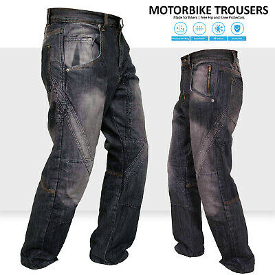 Motorbike Motorcycle Trousers Pants Jeans Reinforced With Protection Lining BLK