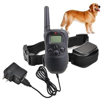 Rechargeable 100LV LCD Electric Remote Shock E-Collar Dog Pet Training Anti-Bark