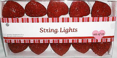 Set of Decorative VALENTINE'S DAY Heart Lights Set of 10   Red