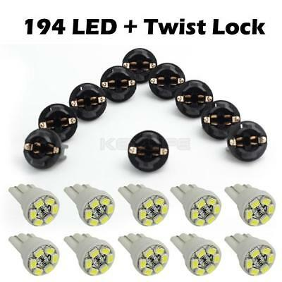 10 Pack Led instrument Panel Dash Light Bulb Auto Twist Lock Wedge Socket White