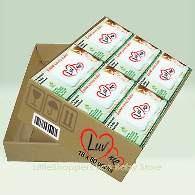 18 x 80pk LUVME Bamboo ECO Natural Wet Wipes Biodegradable Baby Nappy Wipes Face