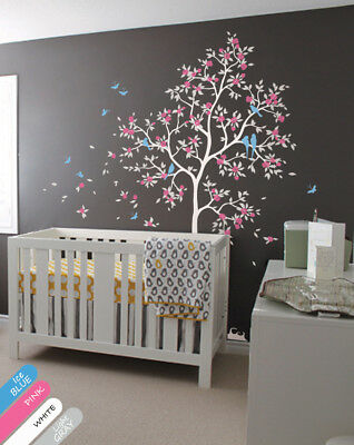 Nursery Room Tree Wall Decal with  Butterflies, Leaves, Flower, Birds - KR071_2