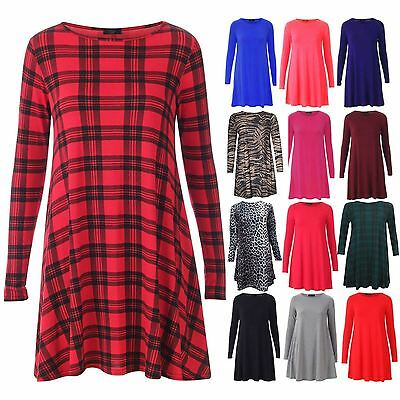 WOMENS TARTAN LADIES LEOPARD TIGER PRINT LONG SLEEVE SWING DRESS TUNIC TOP 8-26