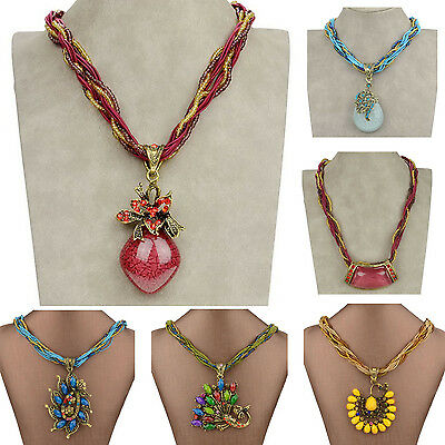Mixed Peacock Ruby Crystal Resin Glass Beads Chain Gem CZ Necklace Pendant ZZ201