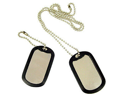 600 Shinny Military GI Dog Tags Rolled edge  Black silencers ball chains Shiny