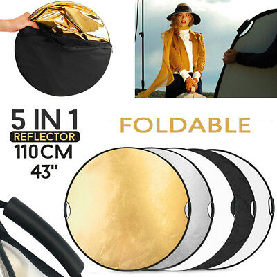 110CM 5IN1 Reflector Photography&Handle Grip Light Collapsible Studio Photo NEW