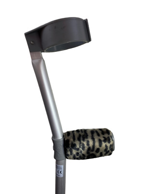 Padded Handle Comfy Crutch Covers - Grey Leopard Print
