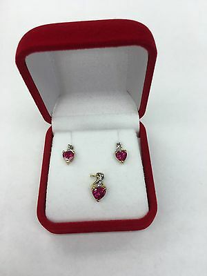 Solid 10K Yellow Gold  Red Heart & Diamond Earring & Pendant Set (NO RING)