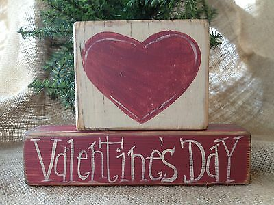 Primitive Country 2 pc Heart Valentine's Day Shelf Sitter Wood Block Set
