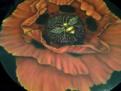 Beautiful handmade wooden round handpainted Poppy box.