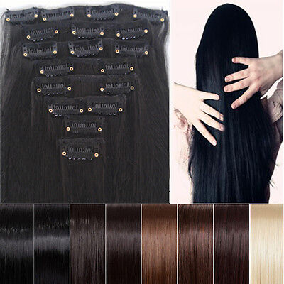 Long Straight/Curly/Wavy 8 Piece full head Hair Extension Extensions 18clips
