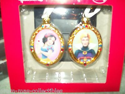 """SET OF TWO DISNEY ORNAMENTS SNOW WHITE AND THE QUEEN 3"""" H X 2"""" W"""