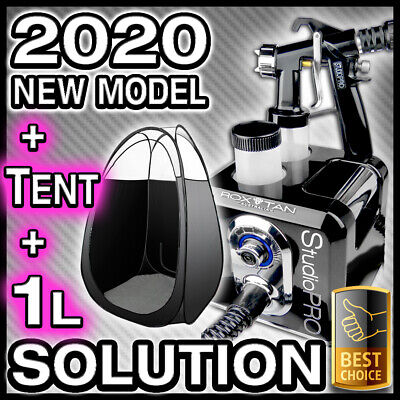 Black Spray Tanning Machine + Black Tent Kit + 1L - Hvlp Sunless Tan Gun Unit