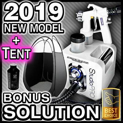 White Spray Tanning Machine + Black Tent Kit - Hvlp Sunless Tan Gun Unit - New