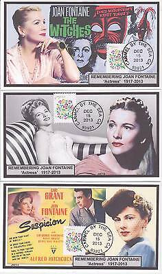 Jvc Cachets -2013 Set Of 3 Remembering Joan Fontaine, Actor - Event Fdc Topical