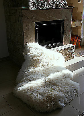 The BIGGEST New Ivory White Genuine Sheepskin Fur Rug + 2 SPECIAL OFFERS !