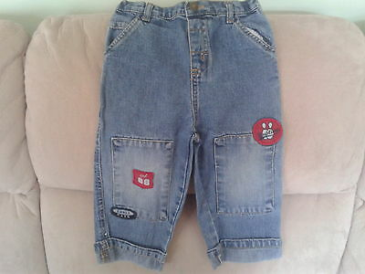 Baby Boys 18-24 Months - Blue Denim Jeans with Turn-Ups & 'Patches'