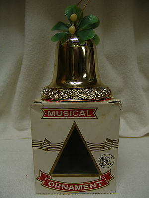 Vintage Musical Ornament/bell W/original Box Plays Silent Night Free Shipping