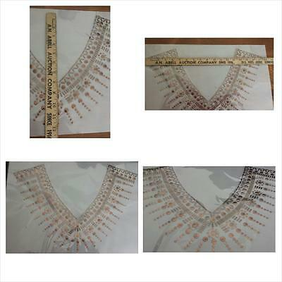 1/ 6  copper circle rectangle design v-neck iron on clear applique collar