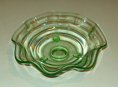 Vintage Green Depression Glass 3-Toed Nappy Bowl/Dish