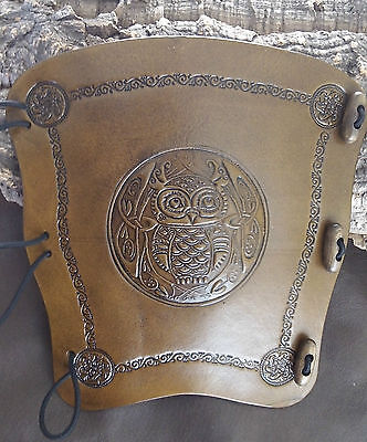 Embossed Celtic Owl leather archery arm guard, bracer, armguard, larp, pagan