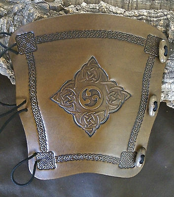 Celtic Triskele leather archery bow arm guard, bracer, armguard, larp, pagan