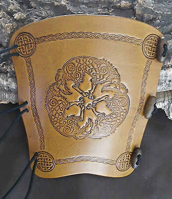 Celtic Wolves wolf leather archery bow arm guard, bracer, armguard, larp, pagan