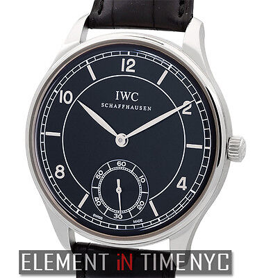 IWC Portuguese Vintage Hand Wound Stainless Steel 44mm Black Dial IW5445-01 NOS