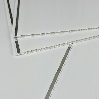 7 White With Chrome Inset Bathroom Cladding Panels PVC Ceiling Kitchen Wet Wall