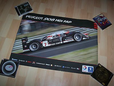 Affiche officielle double face  / Showroom poster PEUGEOT 908 HDI FAP & HY //