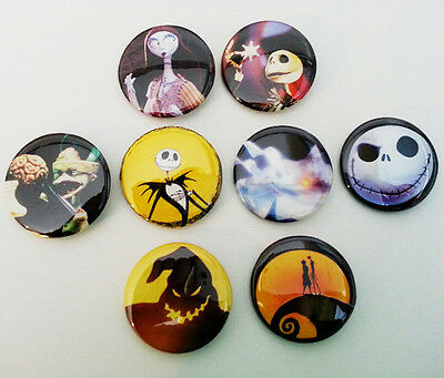 8 piece lot of Nightmare Before Christmas pins buttons badges