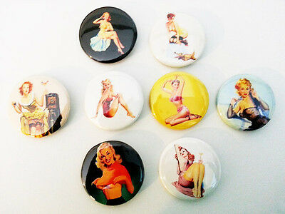 8 piece lot of Pin-up Girls pins buttons badges