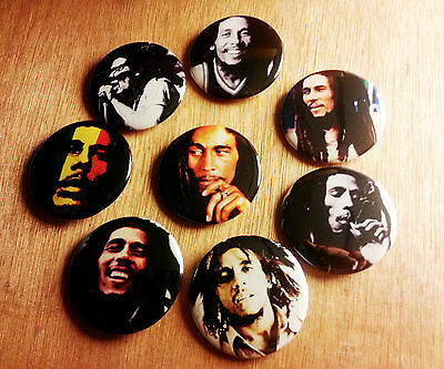 8 piece lot of Bob Marley pins buttons badges