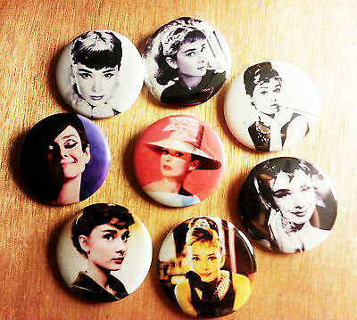 8 piece lot of Audrey Hepburn pins buttons badges
