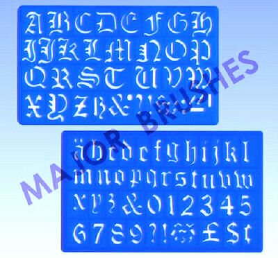 Major Brushes Artist Old English Style Alphabet 30mm Writing & Lettering Stencil
