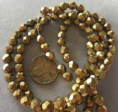 """TWO (2) 16"""" Strand ANTIQUE BRONZE 6mm Czech Glass Round Fire Polished Crystals"""