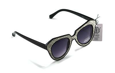 100 % UV400 New Womens Retro Cat-Eye Round Leather Detail Sunglasses W8623