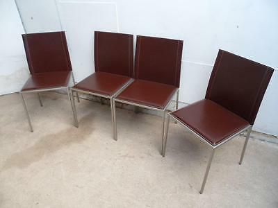 A Stylish Set of 4 Italian Chrome Leather Dining Room Chairs