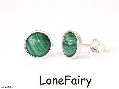Solid 925 Sterling Silver Genuine Green Malachite Round Stud Earrings Gemstone